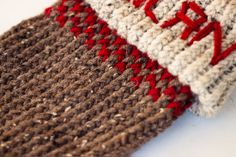 Knit Christmas stocking on a round knitting loom