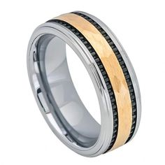 MSRP: $299.99  Our Price: $129.99  Savings: $220.00    Item Number: TR713    Availability: Usually Ships in 5 Business Days    PRODUCT DESCRIPTION:    Crafted in Tungsten, this handsome wedding band for him features a Hammered center design, two tone gold finish with a multi-groove design.    Tungsten because of its toughness, affordability, scratch resistance and hypoallergenic properties has become a material of choice in wedding jewelry.    FEATURES:    Crafted in Durable Tungsten…