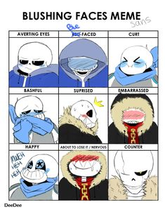 Blushing Faces Meme Ft Sans by HidanImmortal22