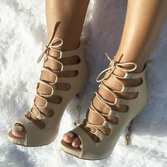 White Lace up Heels