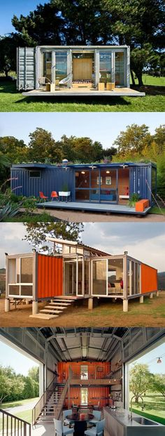 Container House - Homes Made From Shipping Containers. I love the idea of low-impact, recycled/up-cycled habitation. - Who Else Wants Simple Step-By-Step Plans To Design And Build A Container Home From Scratch? Container Home Designs, Storage Container Homes, Cargo Container, Shipping Container Homes, Shipping Containers, Shipping Container Buildings, Container Pool, Container Store, Storage Containers