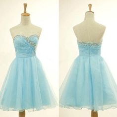 Graceful A-line Rhinestone Beaded Sweetheart Neck Strapless Blue Organza Homecoming Dresses Short Prom Dresses,Sweetheart dress