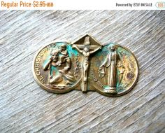 Clearance Sale Religious Medal  - Brass Findings - Brass Stamping - Patina Brass by BohemianGypsyCaravan