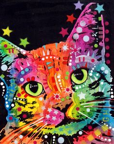Tilted Cat Warpaint Painting by Dean Russo - Tilted Cat Warpaint Fine Art Prints and Posters for Sale