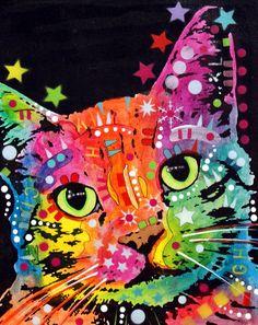 Tilted Cat Warpaint Painting  - Tilted Cat Warpaint Fine Art Print