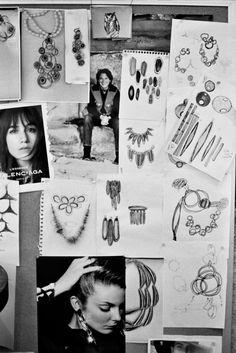 pinboard in studio of jewelry designer Robert Lee Morris