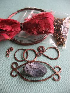 Moss Opal Stone and Rose Sari Silk Bracelet KIT. $35.00, via Etsy...LOVE this!