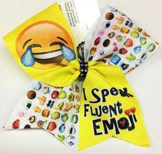 Bows by April - I Speak Fluent Emoji (Laughing) Emoji Pattern Sublimated Cheer Bow, $15.00 (http://www.bowsbyapril.com/i-speak-fluent-emoji-laughing-emoji-pattern-sublimated-cheer-bow/)