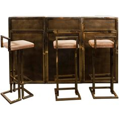 Stylish Brass Paneled Bar Set ($14,950) ❤ liked on Polyvore featuring home, kitchen & dining and bar tools
