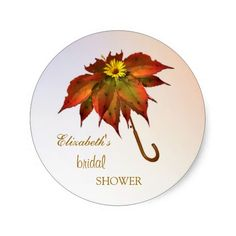 Umbrella autumn leaves Bridal Shower Stickers