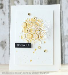 Card by Debby, using embossing paste & gold paint (with a 2-layer DIY die-cut cardstock stencil)