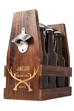 Personalized Antlers Craft Beer Holder. Groomsman Gift Idea.