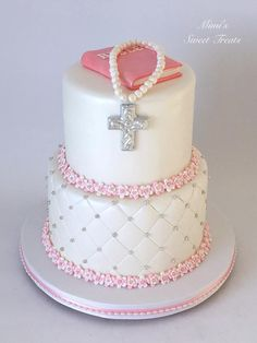 Girlie Communion Cake - Cake by MimisSweetTreats