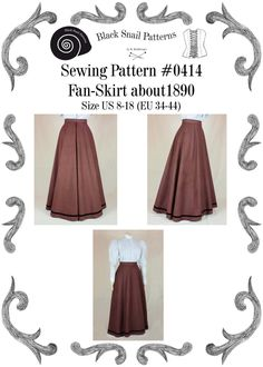 This is a sewing pattern for a Fan-Skirt or Umbrella Skirt about The pattern is suitable as wellfor day dress as for evening dress with a train. The Fan-Skirt or Umbrella Skirt became fashionabl Edwardian Fashion, Vintage Fashion, Clothing Patterns, Sewing Patterns, Style Patterns, Costume Patterns, Coat Patterns, Blouse Patterns, Day Dresses