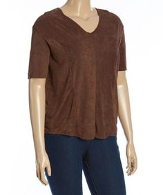 Loving this Brown Sueded V-Neck Tee - Plus on #zulily! #zulilyfinds