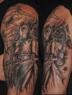 Roly Viruez - Lady Justice  in black and grey