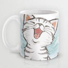 Cat Mug by Toru Sanogawa - Tässken und Gläsken - Coffee Cat Coffee Mug, Cat Mug, Coffee Cups, Pottery Painting, Ceramic Painting, Diy Painting, Diy Becher, Tassen Design, Paint Your Own Pottery
