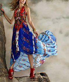 Blue Geometric Silk-Blend Three-Way Convertible Maxi Dress