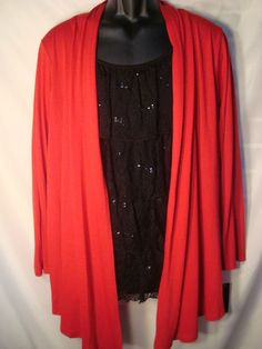 AGB Woman 3X Plus Red Layered Cardigan with Black Ruffle Lace Inset - NWT $62 - Buy It Now $19.99 with FREE SHIPPING