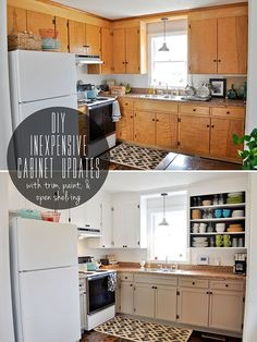 inexpensively update old flat-front cabinets by adding trim, paint, and semi-open shelving
