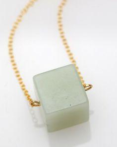 jade cube necklace