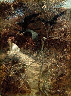 "Illustration by Arthur Rackham of a poem by William Rose Benet called "" The Haunted Wood"" . Arthur Rackham, Haunted Woods, Haunted Forest, Illustrator, Fairytale Art, Children's Book Illustration, Book Illustrations, Westminster, Love Art"
