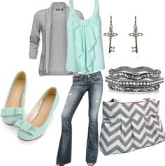 """""""Gray and Mint"""" by brandiejunior on Polyvore"""