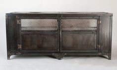 Custom handmade industrial metal media cabinet, tv stand, console table, entertainment center, office furniture