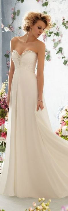 I would like a strapless, or maybe even some lace would be nice on my wedding dress.
