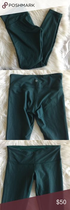 "Lululemon Wunder Under Green ""Denim"" Leggings Lululemon Wunder Under Green ""Denim"" Leggings. No pilling. Very minor flaw in the stitching on middle seam as shown in the photos. Approximate 28"" inseam. lululemon athletica Pants"