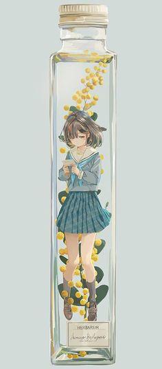 Fantasy Kunst, Fantasy Art, Kawaii Anime, Bottle Drawing, Fan Anime, Japon Illustration, Anime Artwork, Anime Scenery, Manga Pictures
