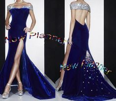 Women Ballroom Standard Smooth Waltz Dance Dress US 10 UK 12 Blue Velet Sliver…