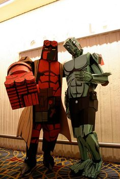 Hellboy and Abe Sapien Costumes Made of Cardboard