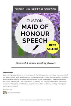 Need help with your maid of honor speech? My name is Britney and I'm a professional wedding speech writer and certified wedding planner. I've written over 200 wedding speeches, and I'd love to write your perfect wedding speech! Speeches range from 2-4 minutes and are personalized for each client. Matron Of Honor Speech, Matron Of Honour, Wedding Speech Order, Best Man Speech, Wedding Speeches, Wedding Toasts, Laughing And Crying, Wedding Thank You, Perfect Wedding