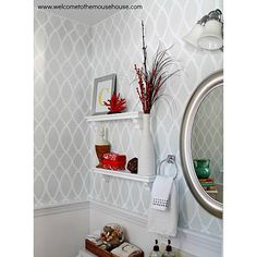 Chair rail in downstairs bath? With stencil on upper portion? Cutting Edge Stencils - Zagora Allover Stencil