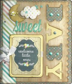 HELLO BABY Album Kit Baby Scrapbook Pages, Baby Boy Scrapbook, Scrapbook Layout Sketches, Mini Scrapbook Albums, Wedding Scrapbook, Scrapbooking Layouts, Mini Albums, Baby Photo Books, Baby Books