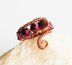 Purple Crystal Seed Bead Copper Wire Wrap Adjustable Cocktail Beautiful Ring