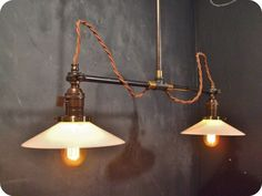 Vintage Industrial Double Shade Ceiling Sconce - Machine Age Flat Shade Pendant Lamp Light - Double Arm, Flat Shade