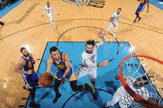 Stephen Curry of the Golden State Warriors goes up for a lay up against the Oklahoma City Thunder on February 11 2017 at Chesapeake Energy Arena in...