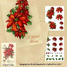 Vintage Style Red Poinsettias Floral Holiday Decoupage Card Making Mini Kit - This 5x7 cards features a gorgeous bouquet of red poinsettia flowers, holly leaves and berries on a digitally created parchment background. Art by Hafapea & Jaguarwoman #CardMakingKits #CraftsUPrint #LisaMayette #Hafapea