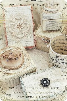 Beautiful shabby boxes by Biene – I will Whitewash over old book pages, add vintage embellishments. Like it!