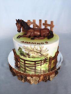 Horse birthday cake - cake by Layla A Cowboy Birthday Cakes, Cowgirl Cakes, Elegant Birthday Cakes, Western Theme Cakes, Cake Paris, Bithday Cake, Panda Cakes, Fantasy Cake, Horse Cake