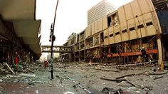 After the bomb: Manchester's Arndale Centre after a massive explosion outside Marks & Spencer in 1996 gutted city centre.  This remains the largest explosion in Britain since World War II.