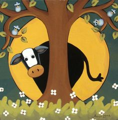 """"""" Cowhide """" Whimsical Hiding Cow Painting, Art by Annie Lane"""