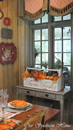 Vintage tool box painted for a fall dining room - Our Southern Home