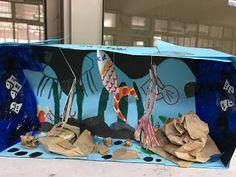 小時候用紙箱做過這個活動,這些年想讓小孩做做看,一直被找適合的紙箱限制住,這次輪到202要交五月穿堂作品,因不想跟三年級作品重複,202每週又有兩節課美勞課,所以試做海底世界。     教學流程與省思   1.受限於藍色的水,所以這次選用藍色書面紙做紙盒,色紙及圖畫紙彩色筆描繪...