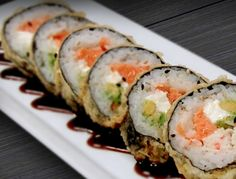 Vegas Roll: Deep fried combination of Cream Cheese, Salmon and Avocado.
