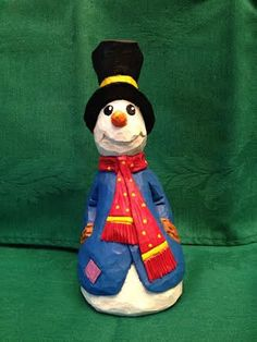 Hand Carved Happy Mr. Snowman Wood Carving       by RWKWoodcarving, $65.00