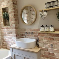 Here's What I Know About Faux Brick Wall Bathroom decoryourhomes com is part of Oak shelves - Faux Brick Walls, Oak Shelves, Bathroom Cleaning, Beautiful Bathrooms, Bathroom Inspiration, Bathroom Interior, Small Bathroom, Brick Bathroom, Oak Bathroom