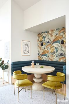 Inside Joy Cho's WFH Space//dining nook with tropical wallpaper Large Floor Tiles, Fabric Dining Chairs, Chairs For Dining Table, Terrazzo Flooring, A Frame House, Dining Nook, Decoration, Interior Design, Home Decor